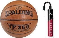 Spalding Ballon de basket TF-250 Indoor/Outdoor + Air Jordan Essential Ball Pump