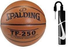 Spalding Ballon de basket TF-250 Indoor/Outdoor + Nike Essential Dual Action Ball Pump