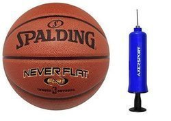 Spalding Never Flat indoor/outdoor Basketball - 3001530010017 + Axer Sport pump