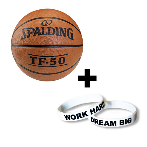 Spalding TF-50 Basketball + Work Hard Dream Big Le bandeau en silicone